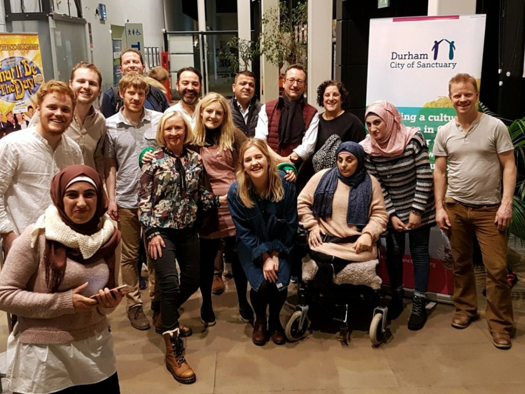 Here's the scene after our January 2018 show in Durham, when the cast of The Transports met our two local partners: Durham City of Sanctuary and Durham for Refugees.