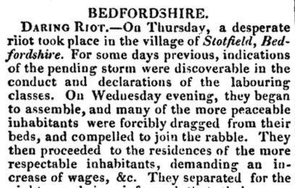 Bedford Stotfold Riot Cobbetts Weekly Register